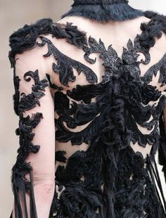 Dark Romance - mirrored patterns & sumptuous feathery textures; dress back detail; closeup fashion // Alexander McQueen