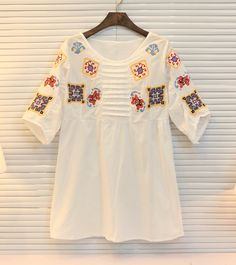 Womens White Loose Colorful Emberidery Dress