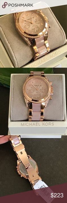 Michael Kors Gold Rose Watch Authentic, new in box with plastic covering watches glass and back cover. Beautiful rhinestones and pink stone on straps. Originally $ 295. MICHAEL Michael Kors Accessories Watches
