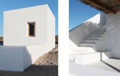 This small West Coast beach house is perched on the shore, thirty meters from the curved edge of a protective rocky bay. The house has a small footprint, reducing its impact. White Cape, City Architecture, West Coast, Beach House, Stairs, Cottage, Headspace, Random, Home Decor