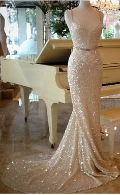 2017 Gorgeous Gold Sequins Prom Dress,Sexy Spaghetti Straps Evening Dress,Elegant Mermaid Style Prom Dress with Train