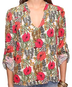 Floral Cuffed Sleeve Top  $22.80