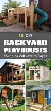 10 Cool Diy Backyard Playhouses Your Kids Will Love To Play In – Pinokyo - Modern Kids Outside Playhouse, Pallet Playhouse, Backyard Playhouse, Build A Playhouse, Pallet Patio, Ponds Backyard, Backyard For Kids, Backyard Projects, Cool Diy