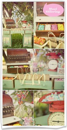 Vintage candy store event theme ~ candy buffet complete with a vintage desk, scale and register in pastel coloring Candy Table, Candy Buffet, Dessert Table, Bar A Bonbon, Vintage Candy, Vintage Tea, Vintage Props, Fiesta Baby Shower, Quinceanera