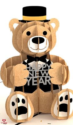 This pop up paper art bear wants to wish you and yours a very Happy New Year! #Happy2016