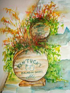 Kentucky Bourbon Barrels Painting  - Kentucky Bourbon Barrels Fine Art Print