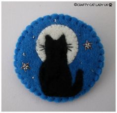 Felt cat and moon brooch pin cat gift cat lady by CraftyCatLadyUK