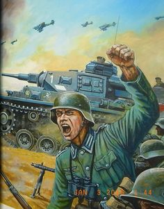German attack with a Panzer III tank. Military Love, Military Art, Military History, German Soldiers Ww2, German Army, Panzer Iii, Military Drawings, Germany Ww2, Ww2 History
