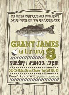 Fishing Birthday Party Invitation  Boys Invite by JamieEvelynPhoto, $15.00