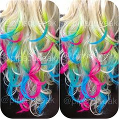 I would get my hair dyed like this but the main color would be black so that the colors would stand out more.