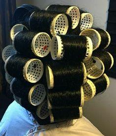 Updo Styles, Long Hair Styles, Sleep In Hair Rollers, Wet Set, Perm Rods, Bobe, Roller Set, Very Long Hair, Curlers