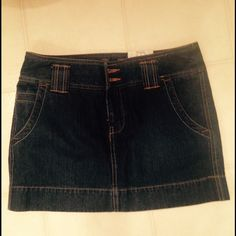 New denim jean skirt size 7 New with tags. Dark wash denim. Juniors size 7. No trades. SO Skirts