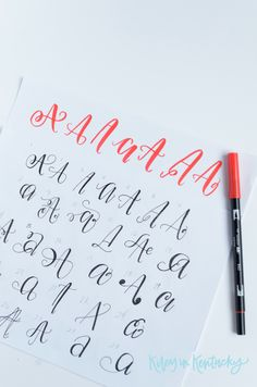 "50 Ways to Draw An 'A' - ""Faux"" Calligraphy + Brush Lettering Exercise — KILEY IN KENTUCKY"