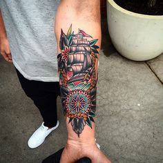 Neo-traditional nautical tattoo