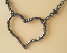 Heart Silver Pendant Oxidized Rustic Necklace One of a by aroluna