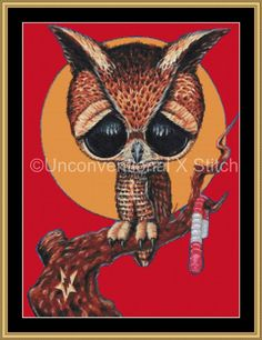 Night shift owl cross stitch pattern - Licensed Sugar Fueled by UnconventionalX on Etsy