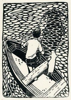 Boy & Dog in boat with a large fish silhouette underneath - love the perspective - linocut by Kelly Dyson Art And Illustration, Animal Illustrations, Illustrations Posters, Linocut Prints, Art Prints, Block Prints, Arte Do Harry Potter, Linoprint, Scratchboard