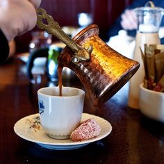 Greek/Turkish Coffee (our version of an espresso) My Coffee Shop, Coffee Cafe, Coffee Drinks, Chocolates, Coffee Origin, Turkish Coffee Cups, Mocca, Turkish Recipes, Arabic Food