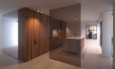 Co.Studio » BELL cocina en mármol con mampara separación cristal. Juego espejos y muebles.