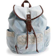 Aeropostale Crochet Denim Backpack ($30) ❤ liked on Polyvore featuring bags, backpacks, denim, backpack travel bag, vintage backpack, travel pouch, crochet backpack and travel rucksack