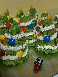 Christmas tree rice krispy treats and an m Rudolph