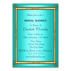 Shop Teal Bridal Shower Invitation created by invitesnow. Teal Bridal Showers, Tea Party Bridal Shower, Wedding Shower Invitations, Girls Night Out, Mother Of The Bride, Save The Date, Rsvp, Falling In Love, Girls Night In