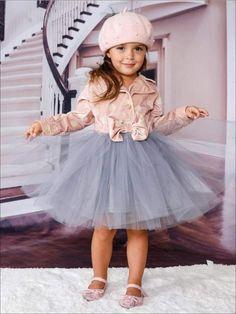 6ee293d92b9 Mia Belle Baby - Girls Pink   Creme Polka Dot Blazer Grey Tutu Dress with  Bow Hallandale Beach
