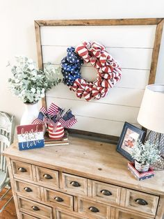 Simple patriotic decor ideas for Summer in my entry way By Wilshire Collections Home decor ideas, Farmhouse, Farmhouse decor, decorating, decorating styles Fourth Of July Decor, 4th Of July Decorations, July 4th, Americana Decorations, Farmhouse Style Kitchen, Farmhouse Decor, Modern Farmhouse, French Farmhouse, Farmhouse Ideas