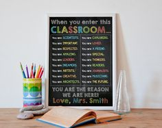 Classroom Decor gifts for teachers Teacher by PrintableWallStory Classroom Rules High School, Classroom Posters, Art Classroom, Classroom Quotes, Classroom Ideas, English Classroom Decor, Teacher Graduation Gifts, Daycare Gifts, Teacher Signs