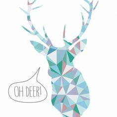 Plakat Triangle Animals - oh deer! - NUNU BABA