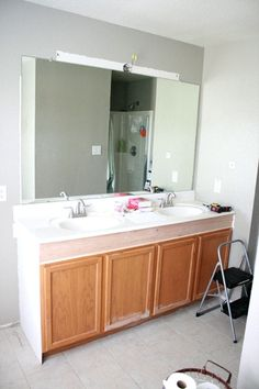 How To Raise A Bathroom Vanity Cabinet. Remodelaholic How To Raise Up A Short Vanity