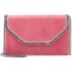 Stella McCartney Falabella Velvet Shoulder Bag (1 209 465 LBP) ❤ liked on Polyvore featuring bags, handbags, shoulder bags, pink, pink shoulder bag, velvet purse, red purse, pink purse and shoulder bag purse
