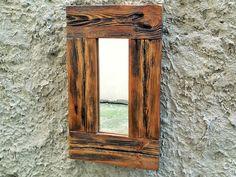 Rustic Wood Mirror, Small Mirror, Wood Frame Mirror, Wooden Mirror, Modern Mirror, Bathroom Mirror, Home Decor, Framed Mirror, Wood Mirror