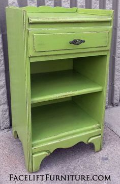 Antique Nightstand in distressed Lime Green with Black Glaze.  From Facelift Furniture's Nightstands collection.