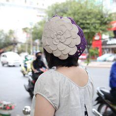 お花ベレー/紫レース×生成り