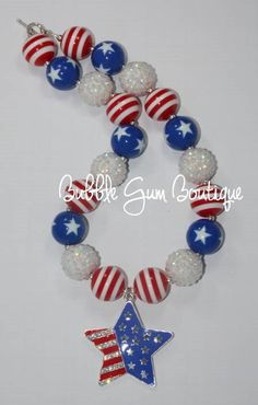 4th of July Pendant Bubbble Gum Bead by BubbleGumBoutiqueFL