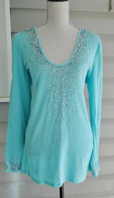 Womens Cotton Top Blouse Tunic, Size L, Aqua Blue, 100% Cotton, by OLD NAVY