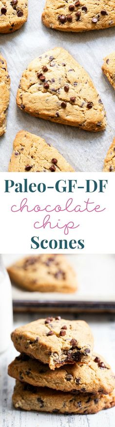 Chocolate Chip Scones Paleo Gf W Df Options - These Paleo Chocolate Chip Scones Are Flaky Soft And Packed With Mini Chocolate Chips Theyre Perfect For Brunch Dessert And Anytime You Need Something Special And Sweet Gluten Free Grain F Paleo Baking, Gluten Free Baking, Gluten Free Desserts, Dairy Free Recipes, Paleo Recipes, Baking Recipes, Healthier Desserts, Bar Recipes, Sin Gluten