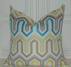 Decorative Teal Yellow Grey 18x18 Jacquard Geometric DesignThrow Pillow Accent Pillows Covers. $38.00, via Etsy.