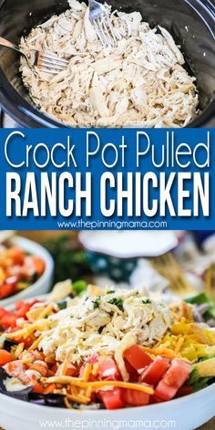 CrockPot Pulled Ranch Chicken The Pinning Mama Pulled Chicken Recipes, Pulled Chicken Sandwiches, Ranch Chicken Recipes, Crockpot Shredded Chicken, Crockpot Ranch Chicken Tacos, Crockpot Chicken Healthy, Crockpot Meals, Slow Cooker Recipes, Cooking Recipes