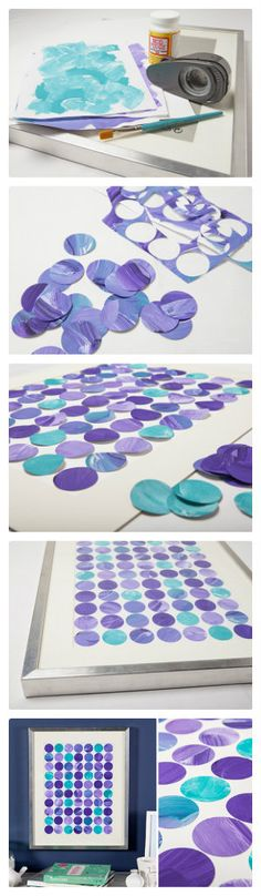 "A fun DIY that allows you to take ""pieces"" of your kids art projects to create a beautiful collage"