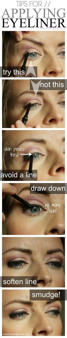 I totally disagree with pulling your skin to apply eyeliner. Pulling the skin makes for a possible uneven eyeliner. Eyeliner Hacks, How To Apply Eyeliner, Applying Eyeliner, Eyeliner Application, Eyeliner Ideas, Flawless Foundation Application, Apply Foundation, Eyeliner Liquid, Eyeliner Brands