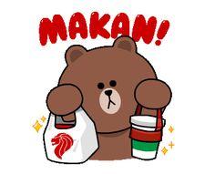 Friends Gif, Line Friends, Cony Brown, Brown Bear, Cartoon Gifs, Cute Cartoon, Emoticon, Emoji, Hungry Gif