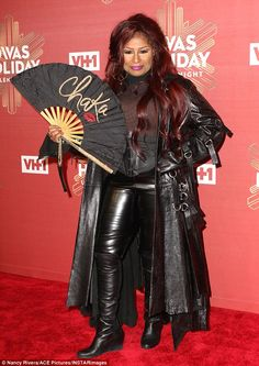 Legend: The iconic Chaka Khan, 63, showed up to the VH-1 event clad in all leather and a s...