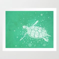 Bubble Turtle Art Print- would be cute for a nursery or ocean themed bathroom