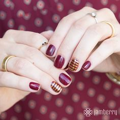 Red Currant lacquer and Metallic God Stripe wraps- What a perfect Fall color combo! May I have them now, please?! ;)