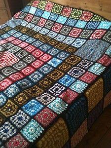 "huge all wool afghan square granny blanket 115"" x 130"""