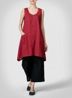 Red Linen Sleeveless Asymmetric Hem Tunic Set