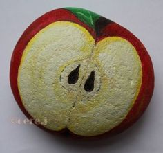 Apple painted on the rock Apple Painting, Pebble Painting, Pebble Art, Stone Painting, Rock Painting Designs, Painting Patterns, Stone Crafts, Rock Crafts, Mandala Bleu
