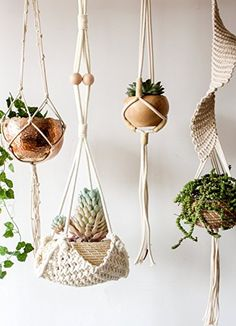 "Macrame Plant Hanger Handmade Cotton Rope Wall Hangings Home Decor,30""L"